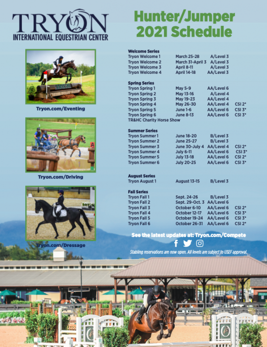 2021 Tryon Show Schedule 3.12