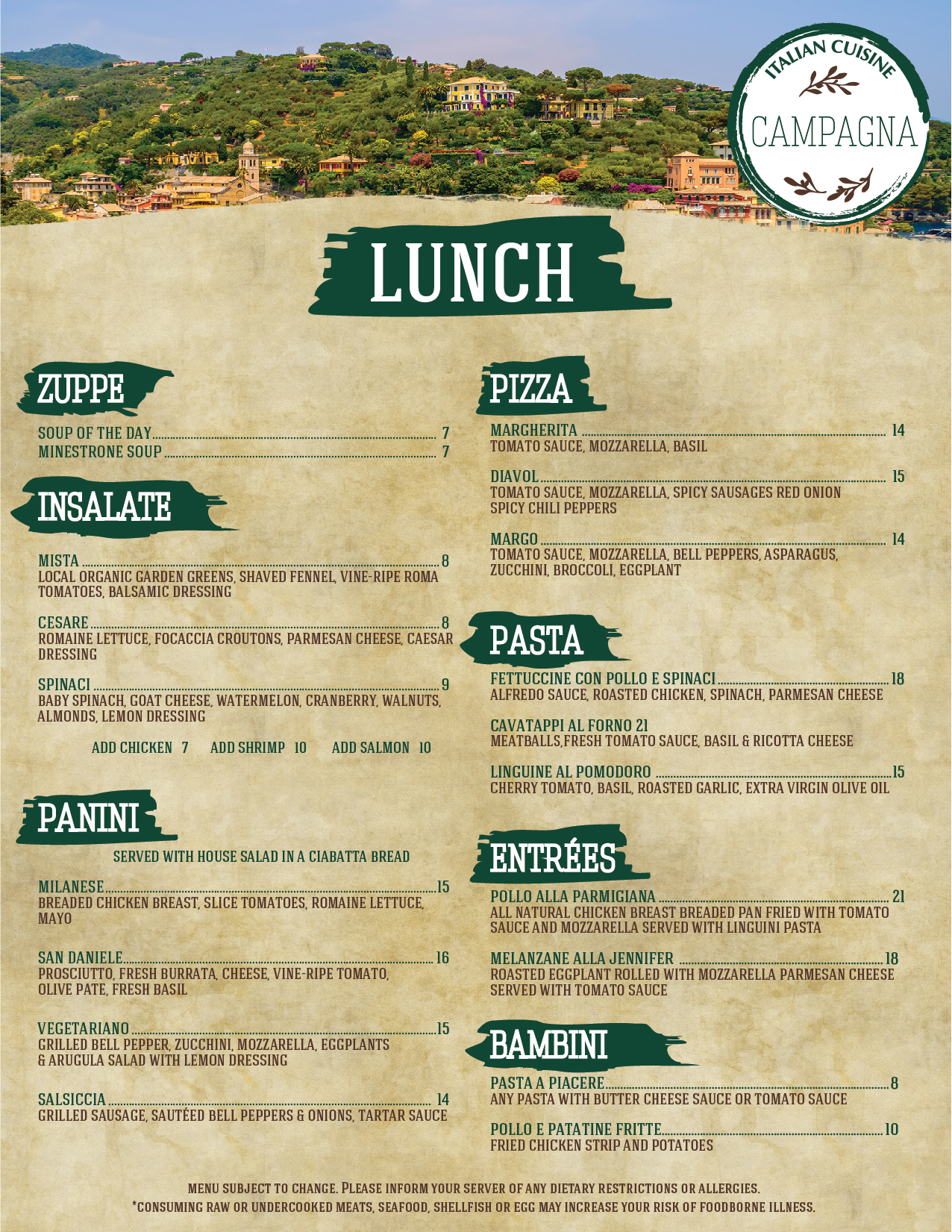 Campagna LUNCH Menu_[Lunch] [Front]