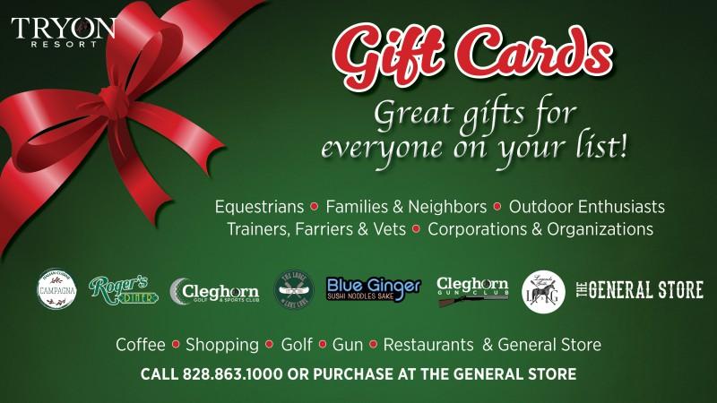 Tryon Resort Gift Cards Make Great Gifts!