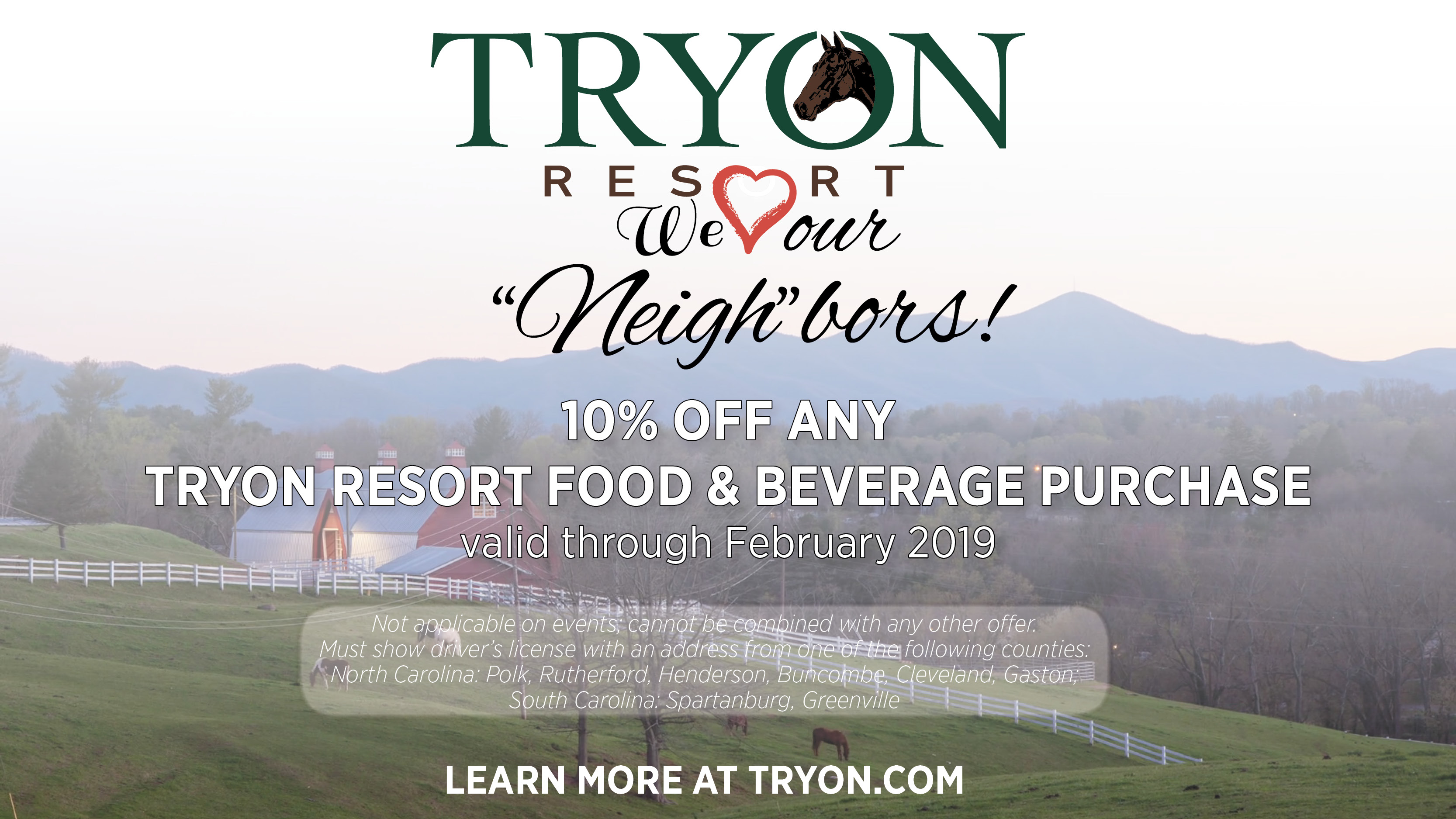 """We love our """"Neigh""""bors! Show your ID and receive 10% off all food and beverage purchases through February!"""